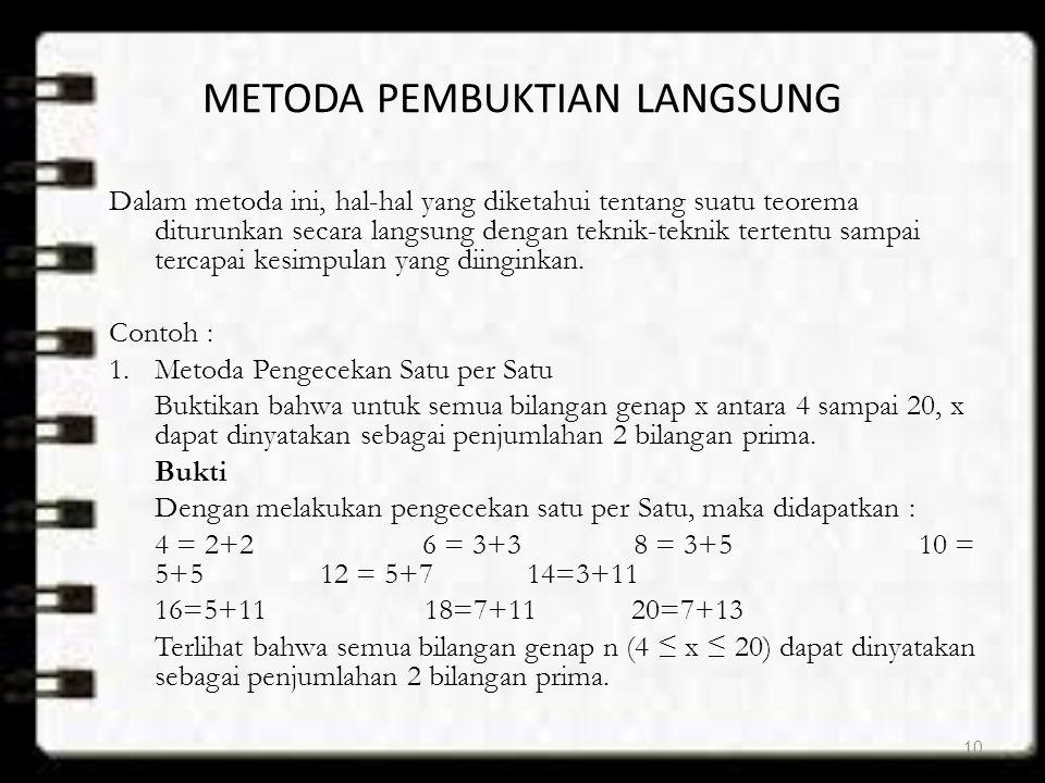 METODA PEMBUKTIAN LANGSUNG Dalam metoda ini, hal-hal yang diketahui tentang suatu teorema diturunkan secara langsung dengan teknik-teknik tertentu sam