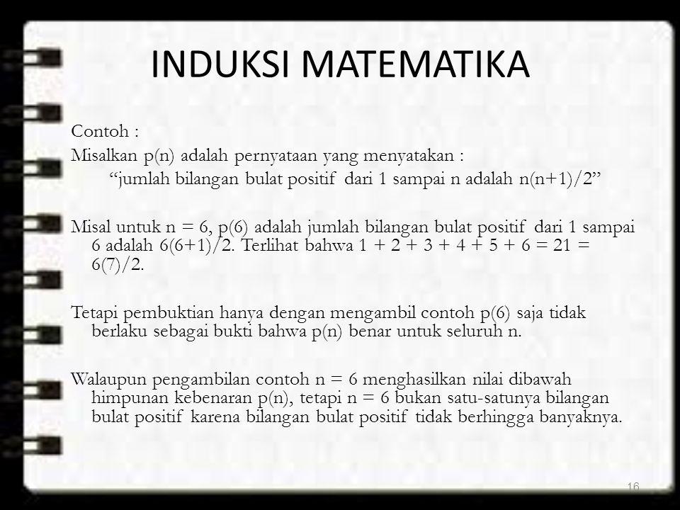 """INDUKSI MATEMATIKA Contoh : Misalkan p(n) adalah pernyataan yang menyatakan : """"jumlah bilangan bulat positif dari 1 sampai n adalah n(n+1)/2"""" Misal un"""