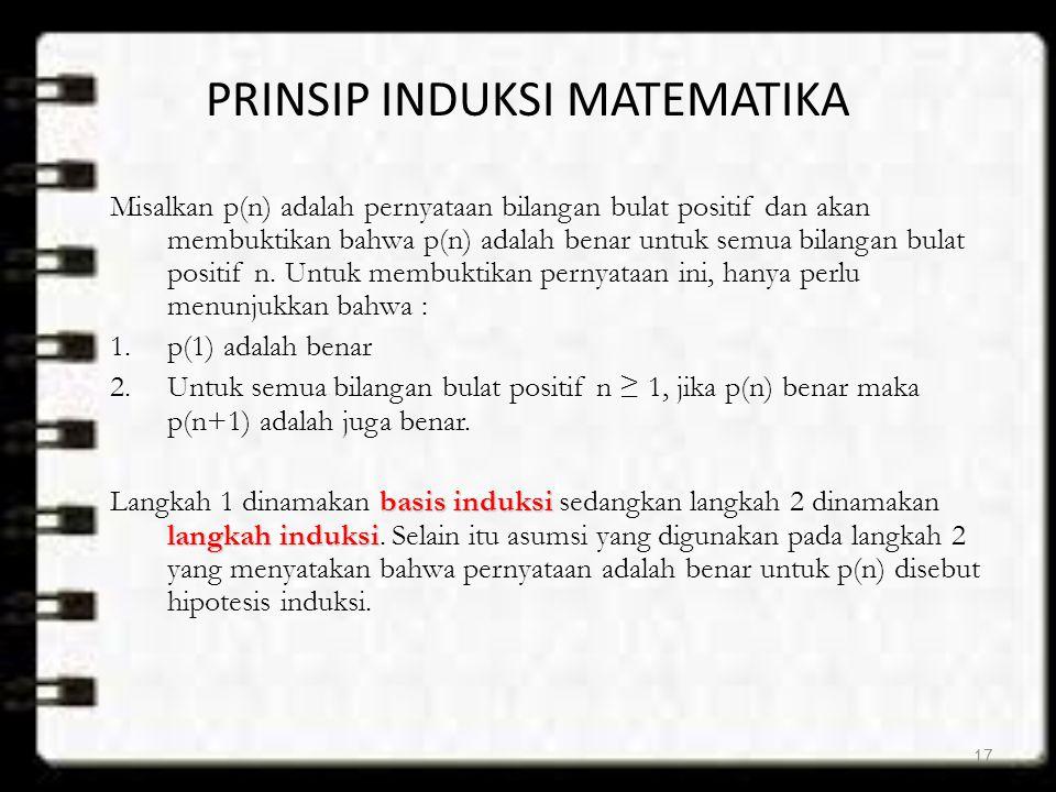 PRINSIP INDUKSI MATEMATIKA Misalkan p(n) adalah pernyataan bilangan bulat positif dan akan membuktikan bahwa p(n) adalah benar untuk semua bilangan bu