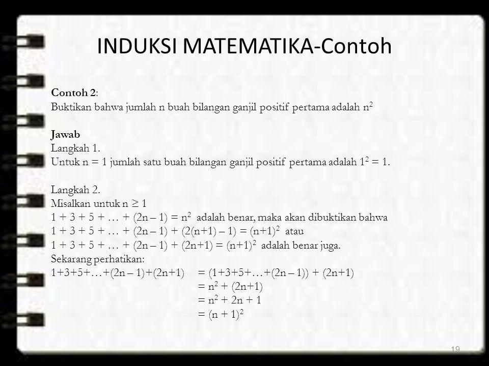 INDUKSI MATEMATIKA-Contoh Contoh 2: Buktikan bahwa jumlah n buah bilangan ganjil positif pertama adalah n 2 Jawab Langkah 1. Untuk n = 1 jumlah satu b