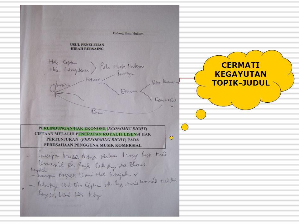 1.Periksa kegayutan judul dengan rumusan masalah 2.Periksa kegayutan rumusan masalah dengan tujuan 3.Periksa luaran yang diharapkan dengan metode yang