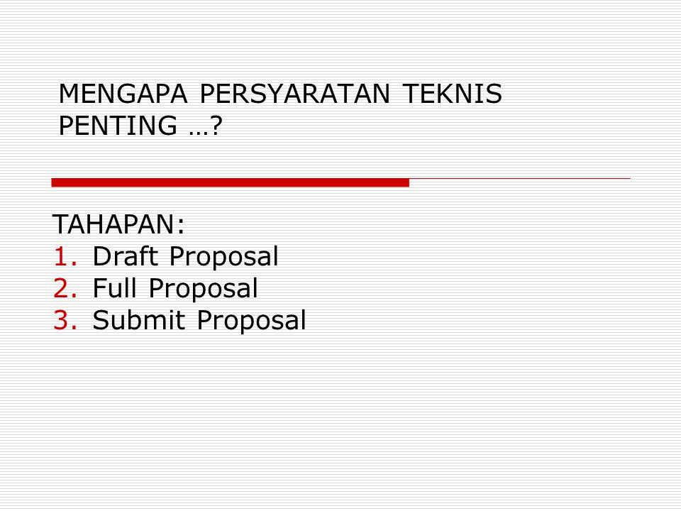 MENGAPA PERSYARATAN TEKNIS PENTING …? TAHAPAN: 1.Draft Proposal 2.Full Proposal 3.Submit Proposal