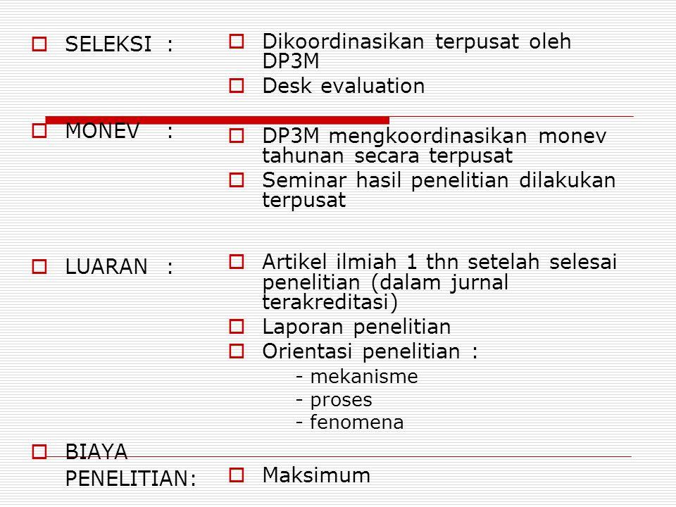 PENELITIAN FUNDAMENTAL  MISI:  PERSON:  INSTITUSI:  Memperkaya body of knowledge (jawaban atas pertanyaan why)  Revisi: - tanpa tema yang ditentu