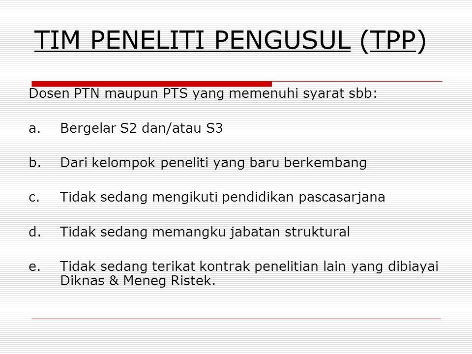 ORGANISASI TIM PENELITI Tim peneliti terdiri dari  Tim Peneliti Pengusul (TPP): Ketua & maks 2 anggota  Tim Peneliti Mitra (TPM) :Ketua & satu anggo
