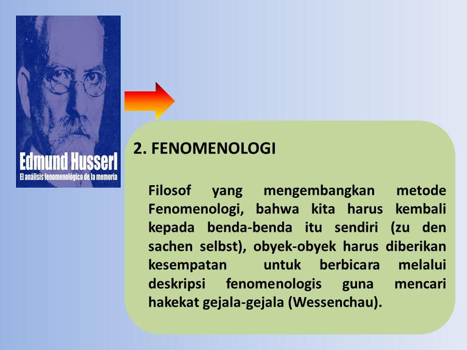 2. FENOMENOLOGI Filosof yang mengembangkan metode Fenomenologi, bahwa kita harus kembali kepada benda-benda itu sendiri (zu den sachen selbst), obyek-