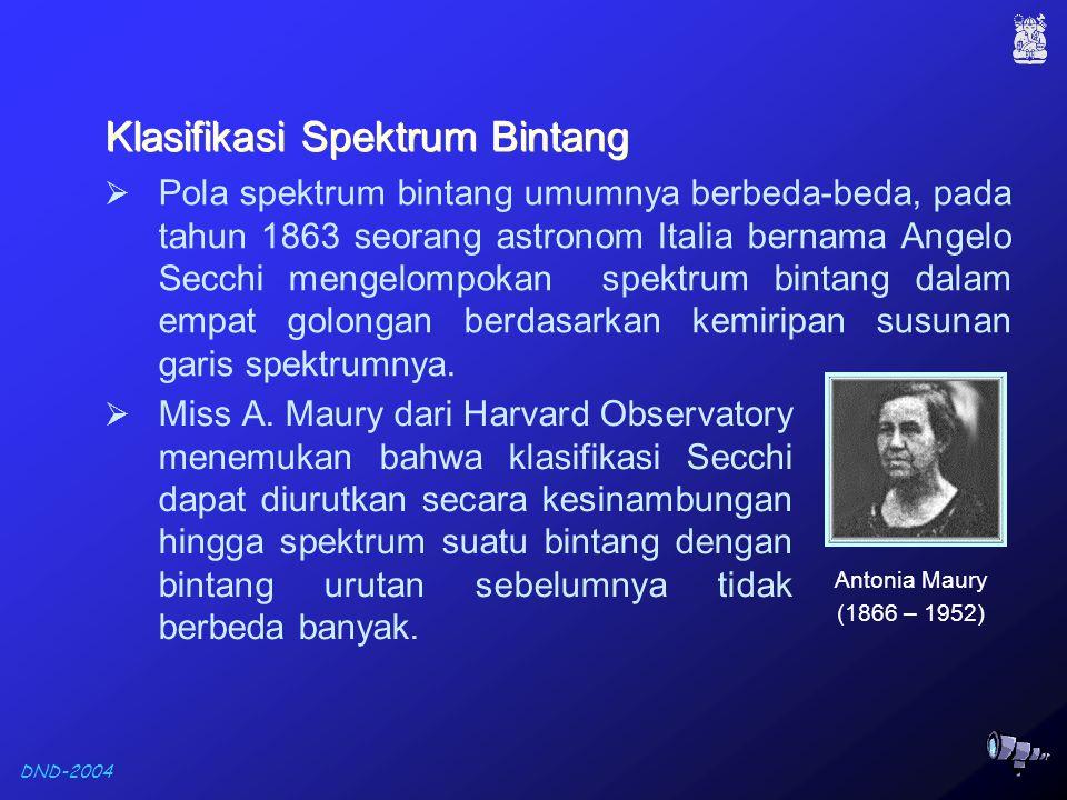 DND-2004 Klasifikasi Spektrum Bintang Klasifikasi Spektrum Bintang  Pola spektrum bintang umumnya berbeda-beda, pada tahun 1863 seorang astronom Italia bernama Angelo Secchi mengelompokan spektrum bintang dalam empat golongan berdasarkan kemiripan susunan garis spektrumnya.