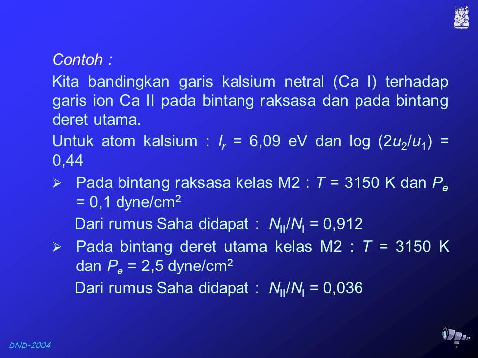 DND-2004 Contoh : Kita bandingkan garis kalsium netral (Ca I) terhadap garis ion Ca II pada bintang raksasa dan pada bintang deret utama.