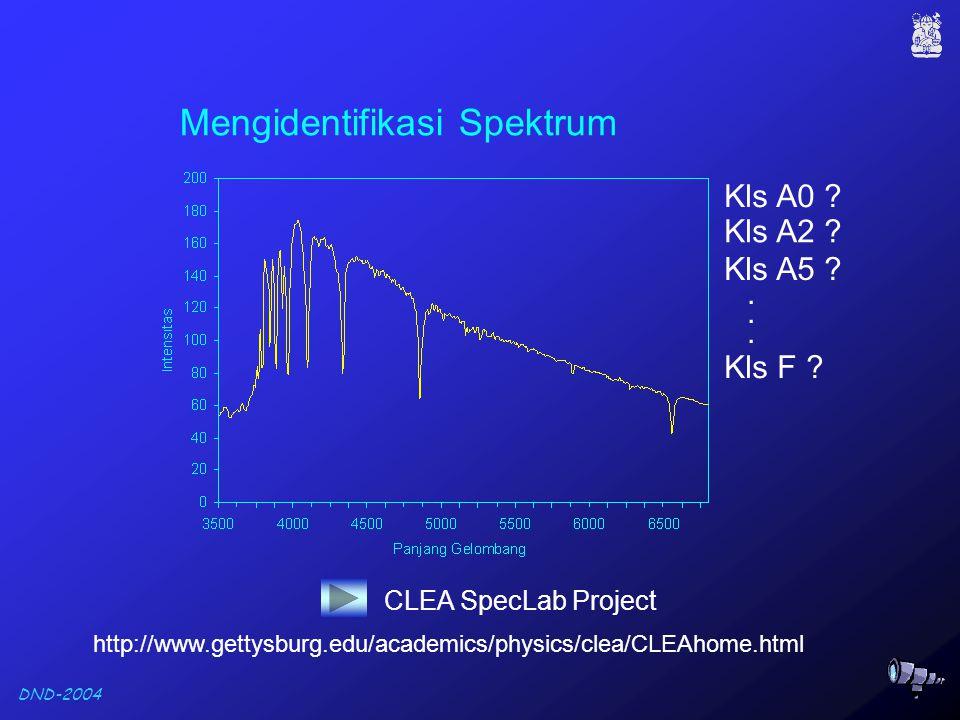 DND-2004 Mengidentifikasi Spektrum Kls A0 . Kls A2 .