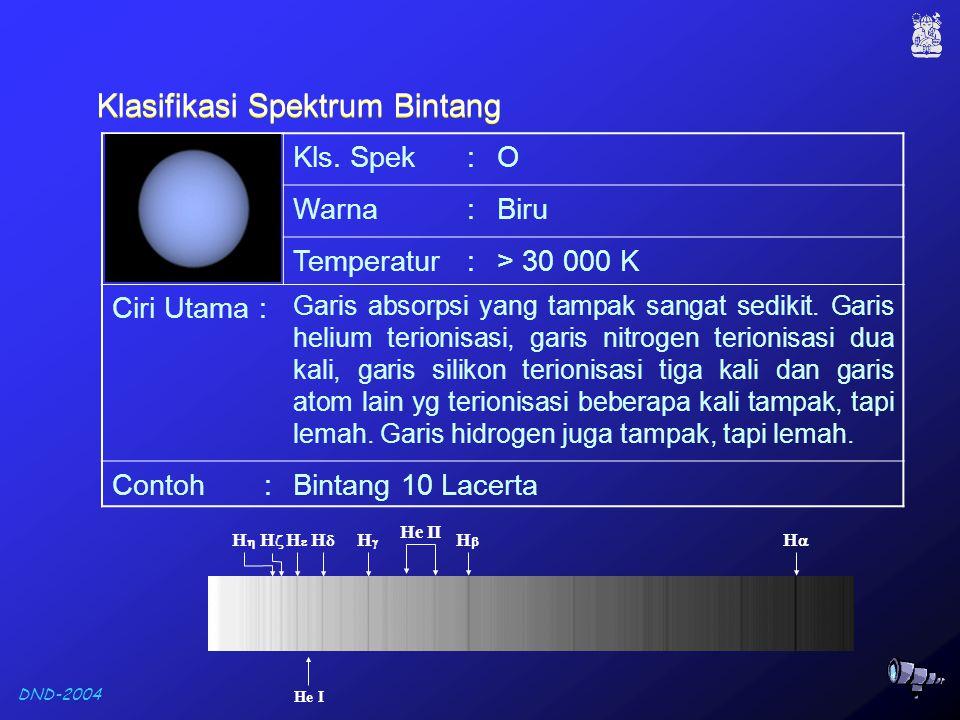 DND-2004 G2 V : Bintang deret utama kelas spektrum G2 Klasifikasi spektrum bintang sekarang ini merupakan penggabungan dari kelas spektrum dan kelas luminositas.