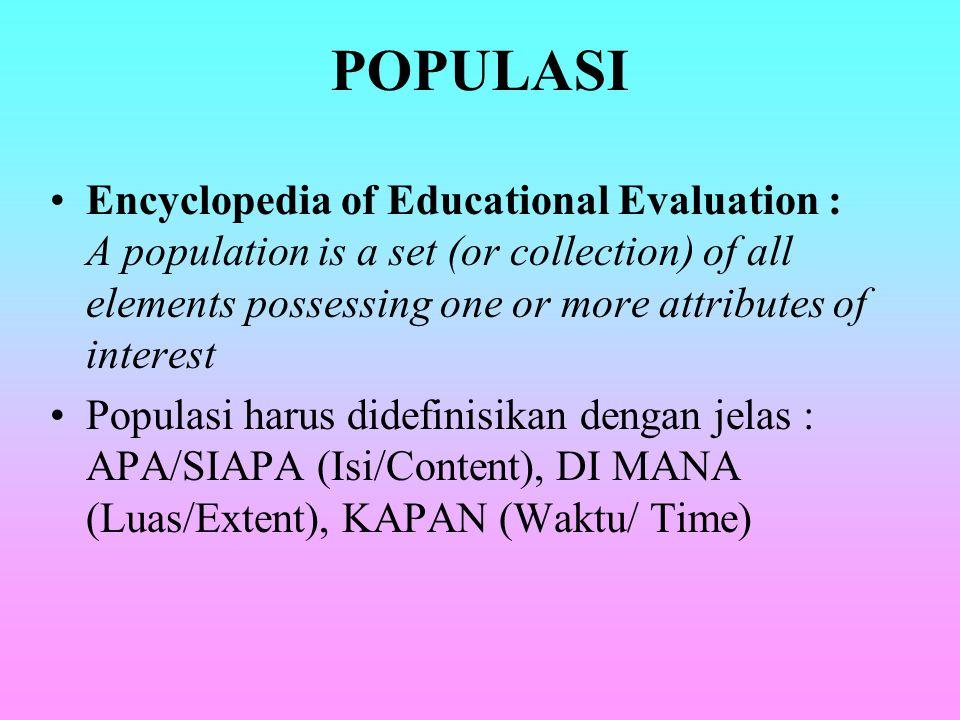 POPULASI DAN SAMPEL POPULASI : HIMPUNAN DARI UNIT/ INDIVIDU YANG MEMPUNYAI CIRI- CIRI YANG SAMA Populasi : keseluruhan subyek penelitian. Populasi : k