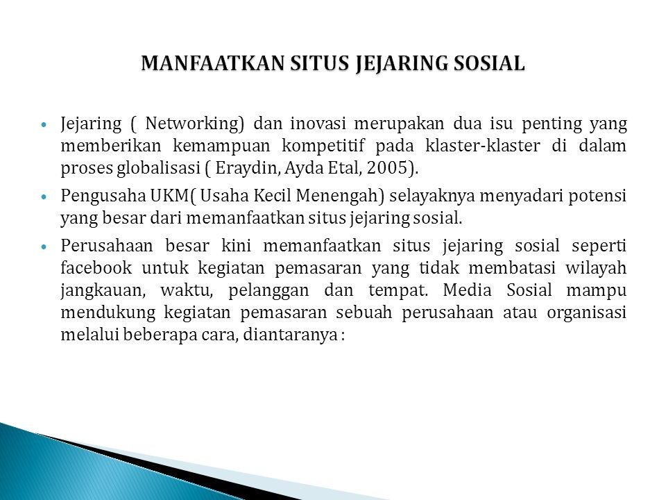 Jejaring ( Networking) dan inovasi merupakan dua isu penting yang memberikan kemampuan kompetitif pada klaster-klaster di dalam proses globalisasi ( E
