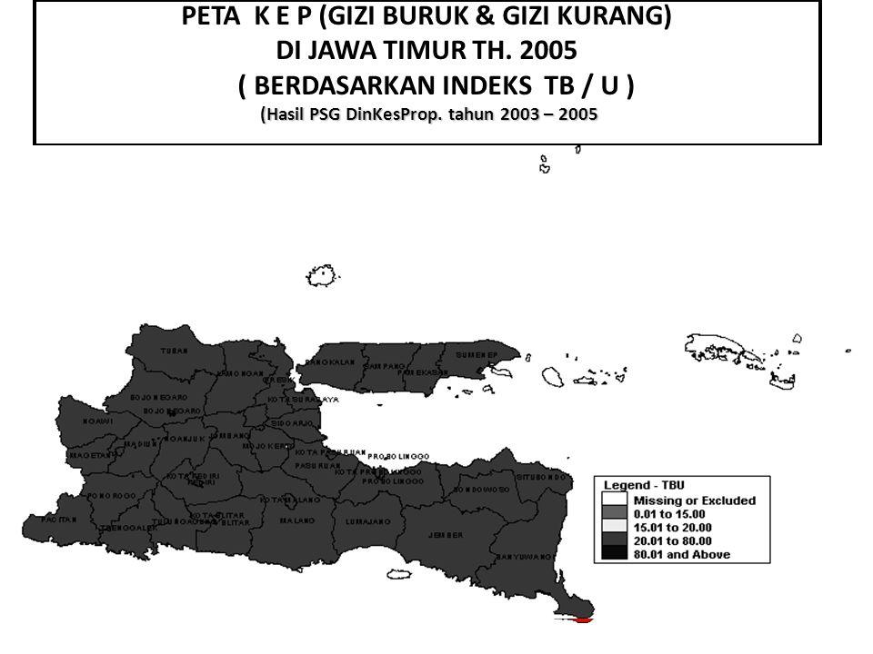 (Hasil PSG DinKesProp. tahun 2003 – 2005 PETA K E P (GIZI BURUK & GIZI KURANG) DI JAWA TIMUR TH. 2005 ( BERDASARKAN INDEKS TB / U ) (Hasil PSG DinKesP