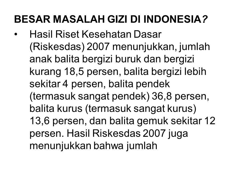 BESAR MASALAH GIZI DI INDONESIA? Hasil Riset Kesehatan Dasar (Riskesdas) 2007 menunjukkan, jumlah anak balita bergizi buruk dan bergizi kurang 18,5 pe
