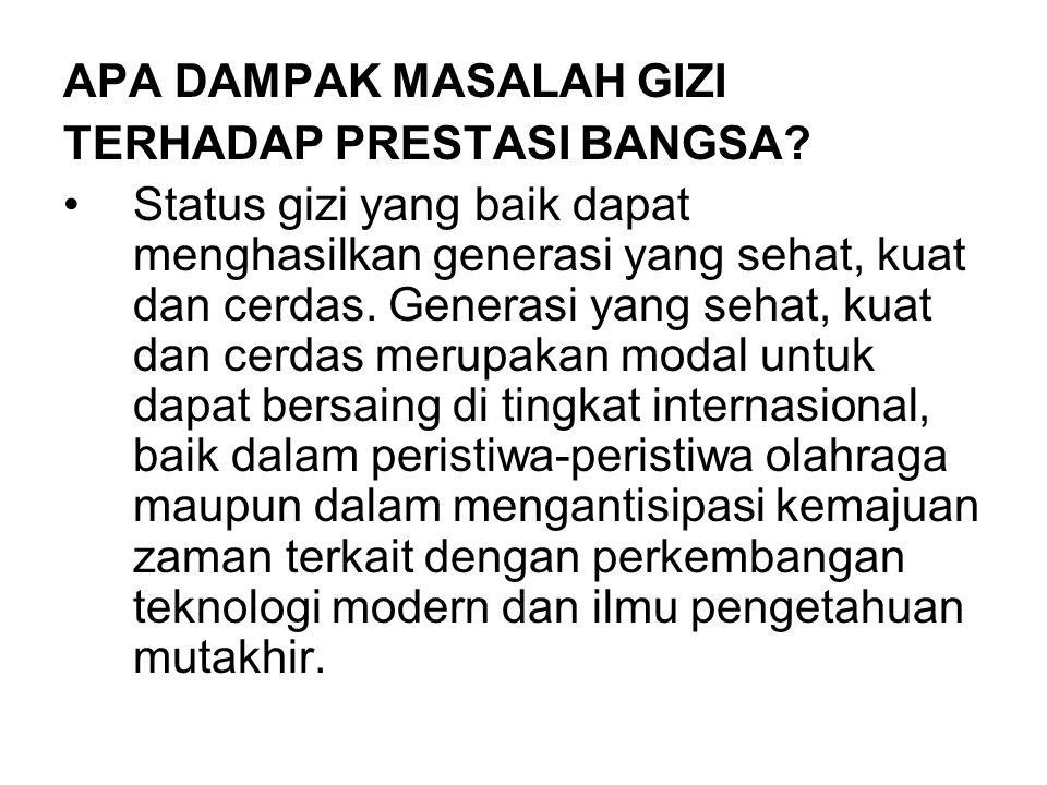 APA DAMPAK MASALAH GIZI TERHADAP PRESTASI BANGSA.
