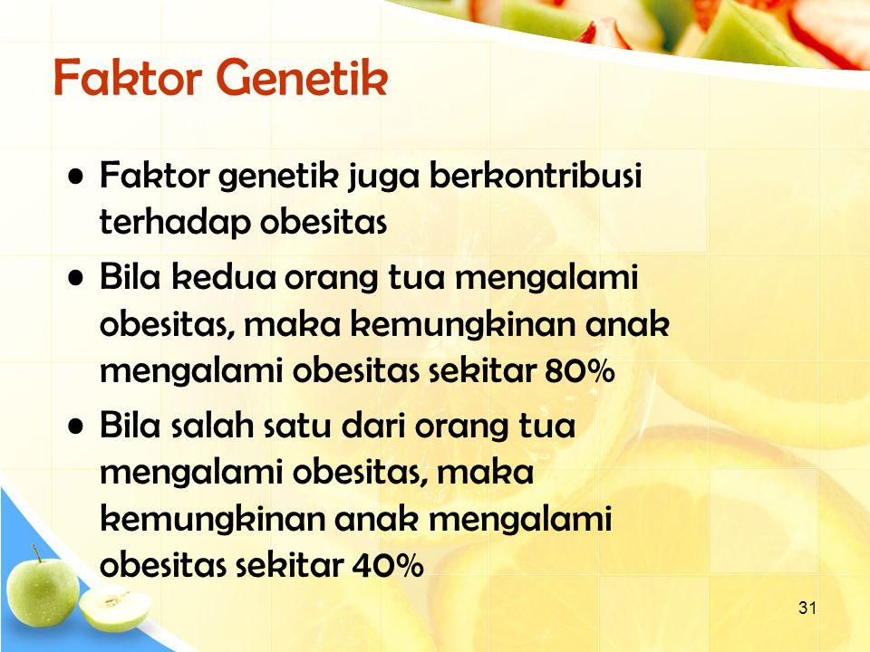 31 Faktor Genetik Faktor genetik juga berkontribusi terhadap obesitas Bila kedua orang tua mengalami obesitas, maka kemungkinan anak mengalami obesitas sekitar 80% Bila salah satu dari orang tua mengalami obesitas, maka kemungkinan anak mengalami obesitas sekitar 40%