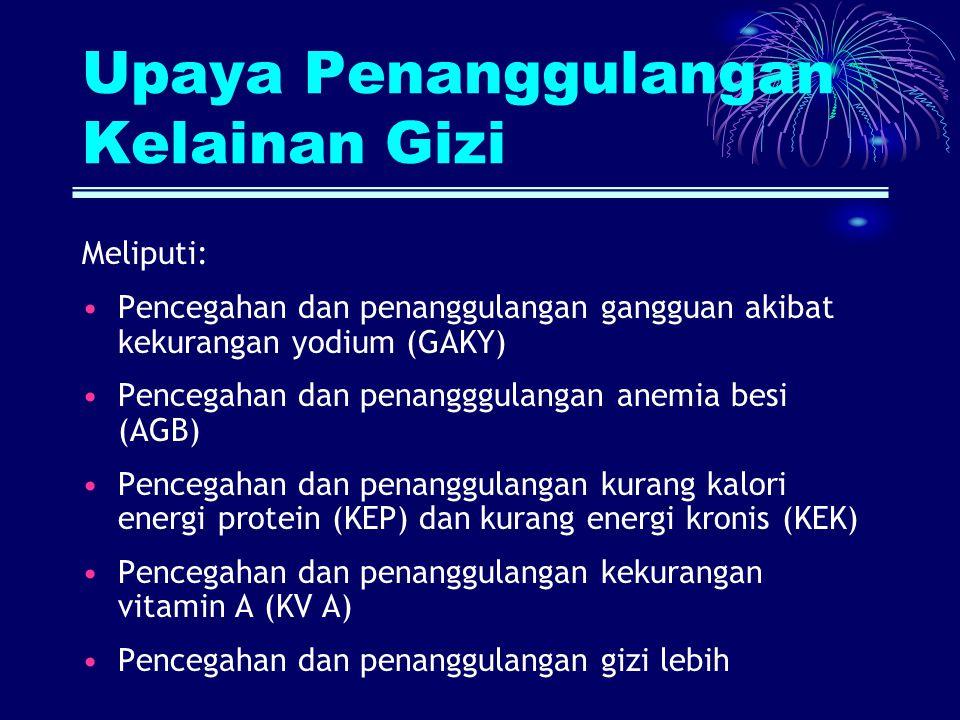 Upaya Penanggulangan Kelainan Gizi Meliputi: Pencegahan dan penanggulangan gangguan akibat kekurangan yodium (GAKY) Pencegahan dan penangggulangan ane