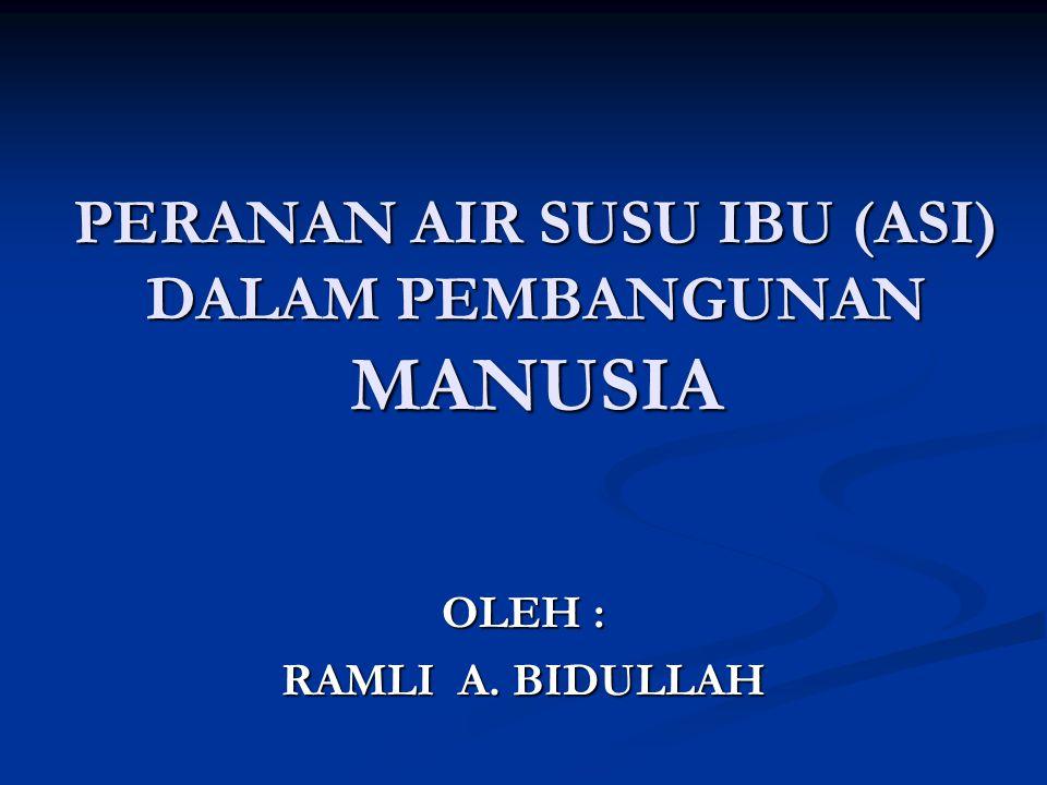 PERANAN AIR SUSU IBU (ASI) DALAM PEMBANGUNAN MANUSIA OLEH : RAMLI A. BIDULLAH
