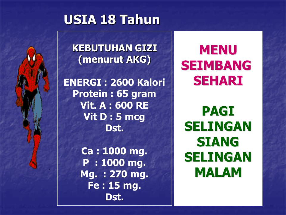 USIA 18 Tahun KEBUTUHAN GIZI (menurut AKG) ENERGI : 2600 Kalori Protein : 65 gram Vit. A : 600 RE Vit D : 5 mcg Dst. Ca : 1000 mg. P : 1000 mg. Mg. :