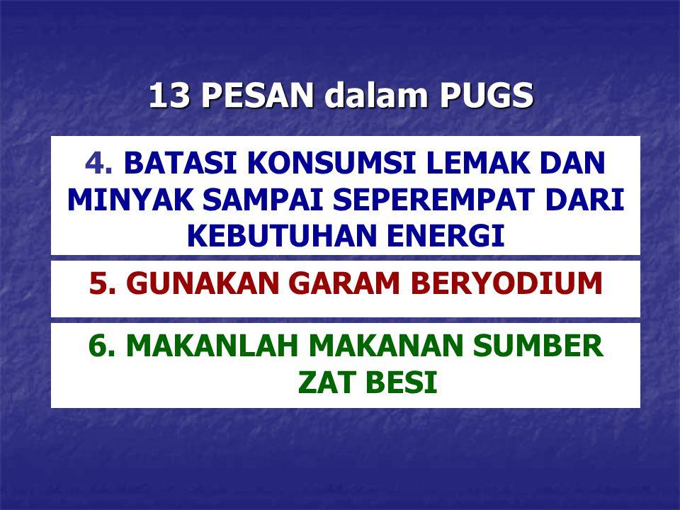 13 PESAN dalam PUGS 4. BATASI KONSUMSI LEMAK DAN MINYAK SAMPAI SEPEREMPAT DARI KEBUTUHAN ENERGI 5. GUNAKAN GARAM BERYODIUM 6. MAKANLAH MAKANAN SUMBER