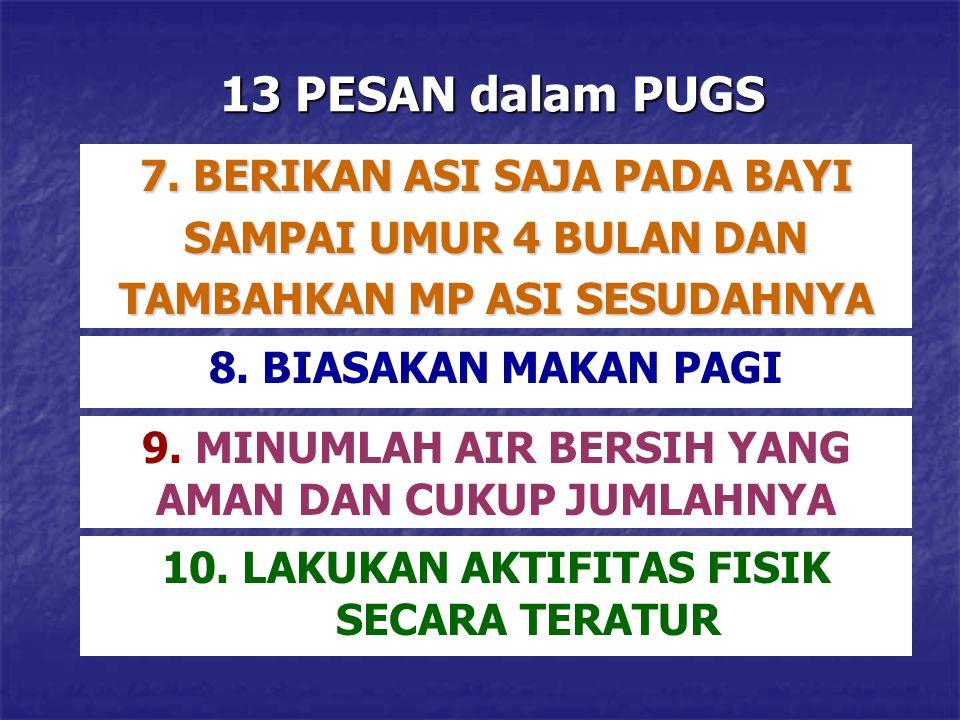 13 PESAN dalam PUGS 8. BIASAKAN MAKAN PAGI 9. MINUMLAH AIR BERSIH YANG AMAN DAN CUKUP JUMLAHNYA 10. LAKUKAN AKTIFITAS FISIK SECARA TERATUR 7. BERIKAN