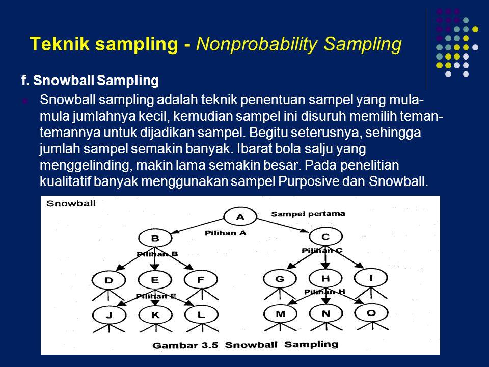 Teknik sampling - Nonprobability Sampling f. Snowball Sampling Snowball sampling adalah teknik penentuan sampel yang mula- mula jumlahnya kecil, kemud