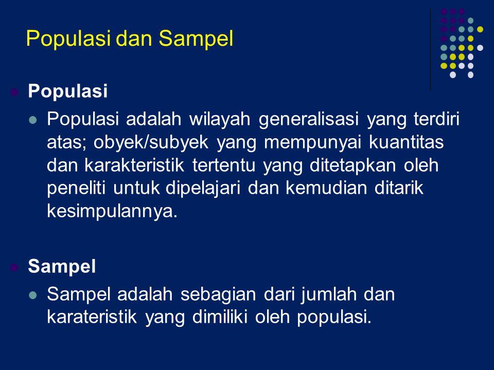Populasi dan Sampel Populasi Populasi adalah wilayah generalisasi yang terdiri atas; obyek/subyek yang mempunyai kuantitas dan karakteristik tertentu