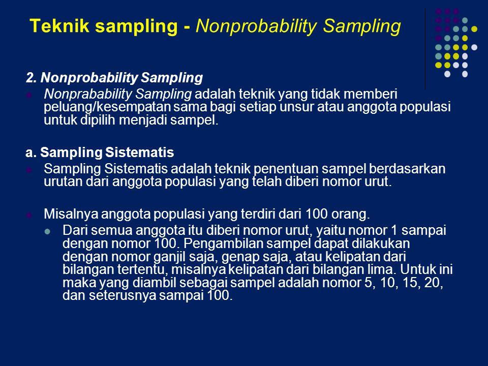 Teknik sampling - Nonprobability Sampling 2. Nonprobability Sampling Nonprabability Sampling adalah teknik yang tidak memberi peluang/kesempatan sama