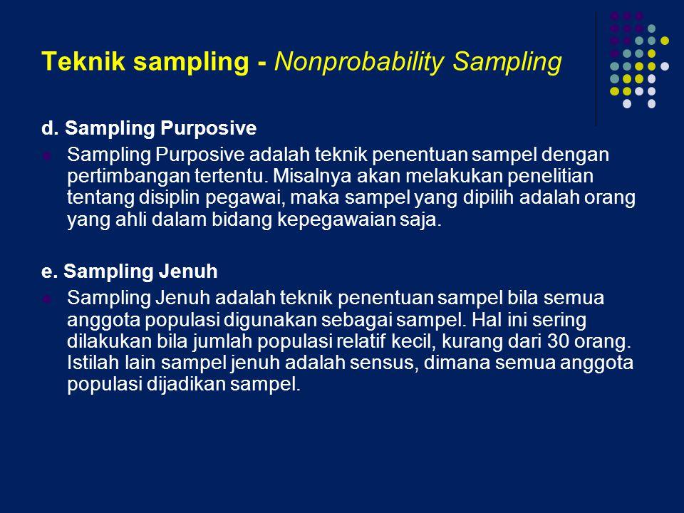 Teknik sampling - Nonprobability Sampling d. Sampling Purposive Sampling Purposive adalah teknik penentuan sampel dengan pertimbangan tertentu. Misaln