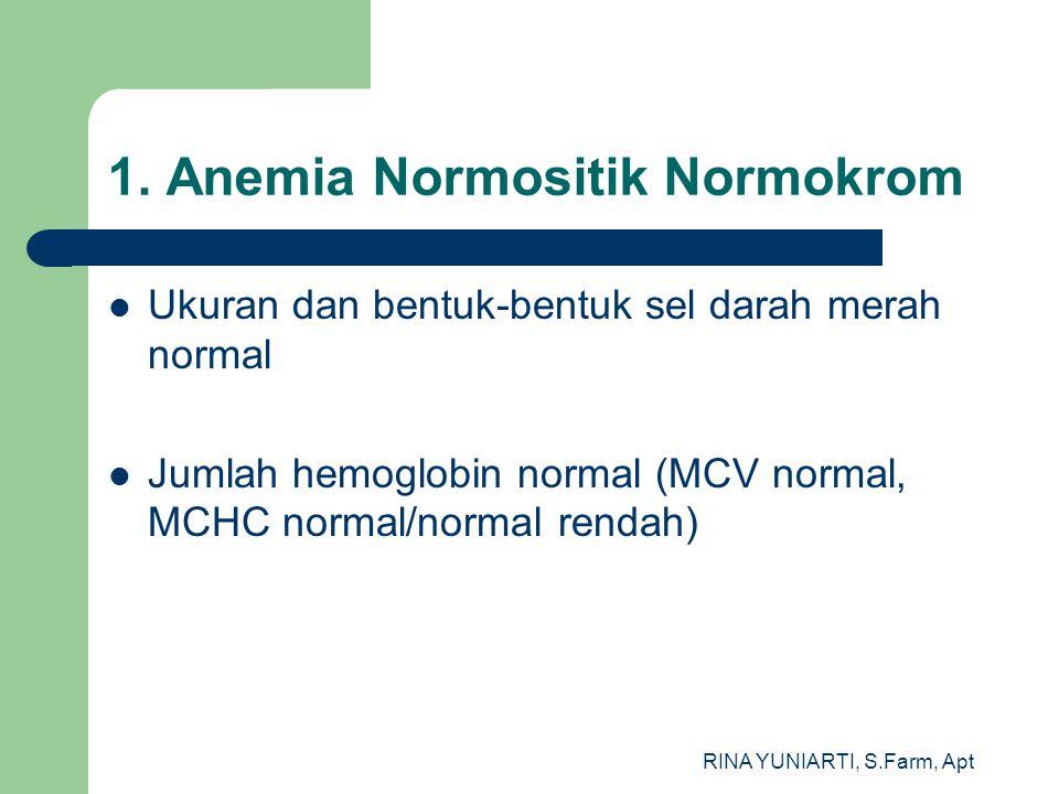 RINA YUNIARTI, S.Farm, Apt 1. Anemia Normositik Normokrom Ukuran dan bentuk-bentuk sel darah merah normal Jumlah hemoglobin normal (MCV normal, MCHC n