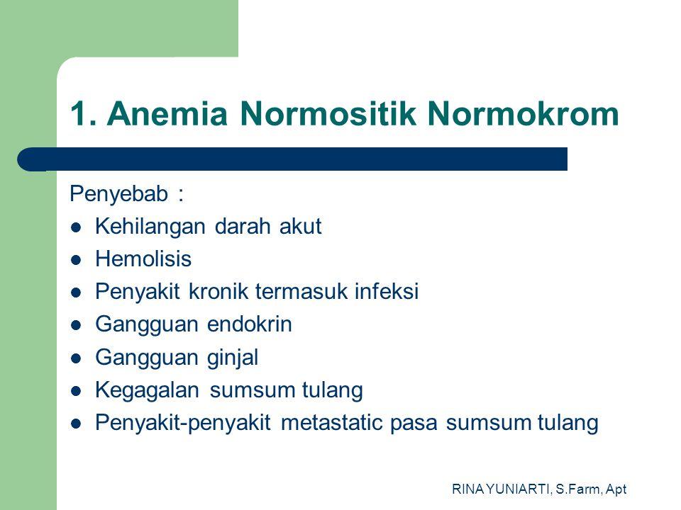 RINA YUNIARTI, S.Farm, Apt 1. Anemia Normositik Normokrom Penyebab : Kehilangan darah akut Hemolisis Penyakit kronik termasuk infeksi Gangguan endokri