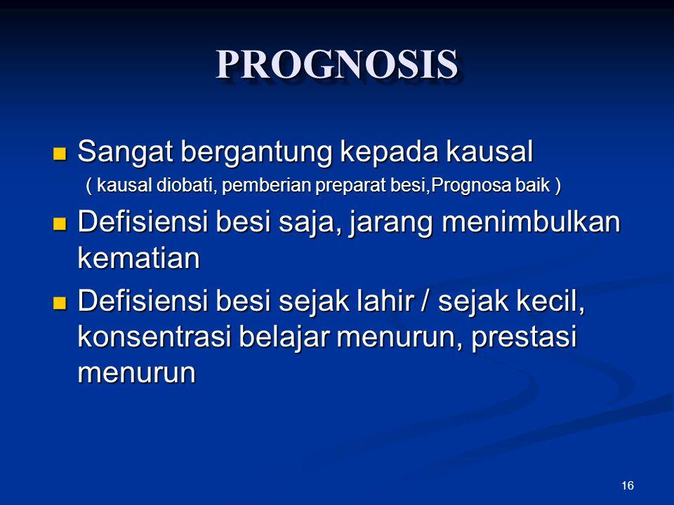 16 PROGNOSISPROGNOSIS Sangat bergantung kepada kausal Sangat bergantung kepada kausal ( kausal diobati, pemberian preparat besi,Prognosa baik ) Defisi