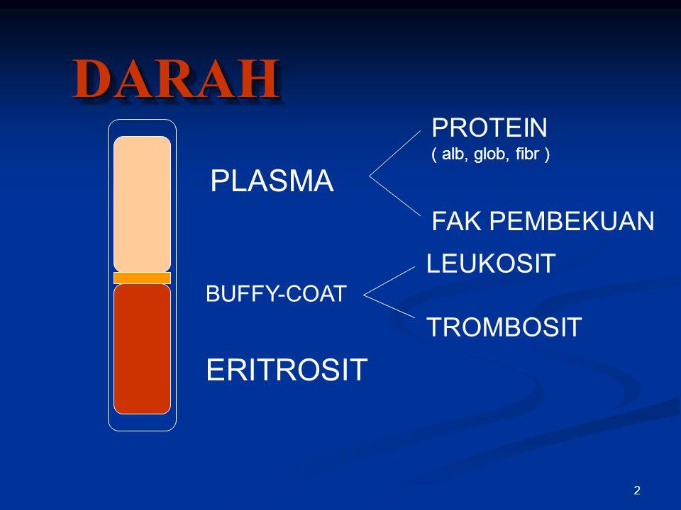 2 DARAHDARAH PLASMA BUFFY-COAT ERITROSIT LEUKOSIT TROMBOSIT PROTEIN ( alb, glob, fibr ) FAK PEMBEKUAN