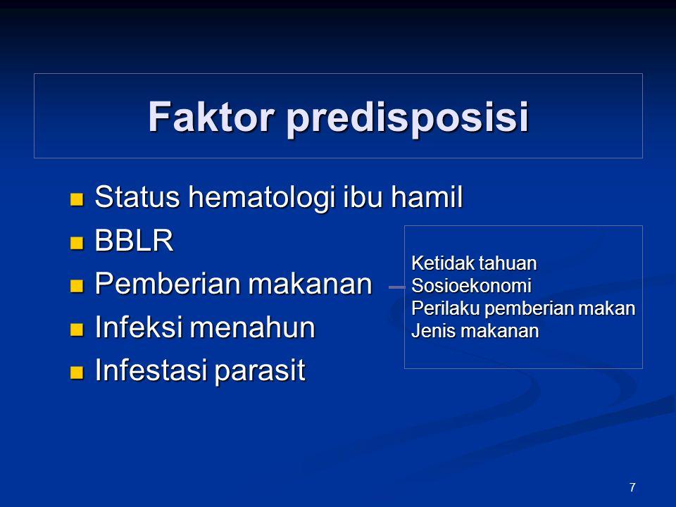 7 Faktor predisposisi Status hematologi ibu hamil Status hematologi ibu hamil BBLR BBLR Pemberian makanan Pemberian makanan Infeksi menahun Infeksi menahun Infestasi parasit Infestasi parasit Ketidak tahuan Sosioekonomi Perilaku pemberian makan Jenis makanan