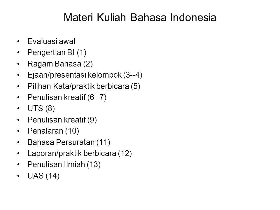 BAHASA INDONESIA Tujuan: -Mahasiswa terampil menggunakan bahasa Indonesia secara baik dan benar baik dalam bentuk lisan maupun tulisan.