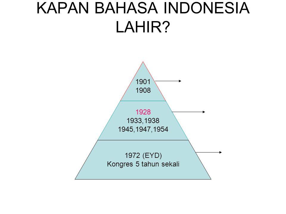 KAPAN BAHASA INDONESIA LAHIR? 1901 1908 1928 1933,1938 1945,1947,1954 1972 (EYD) Kongres 5 tahun sekali