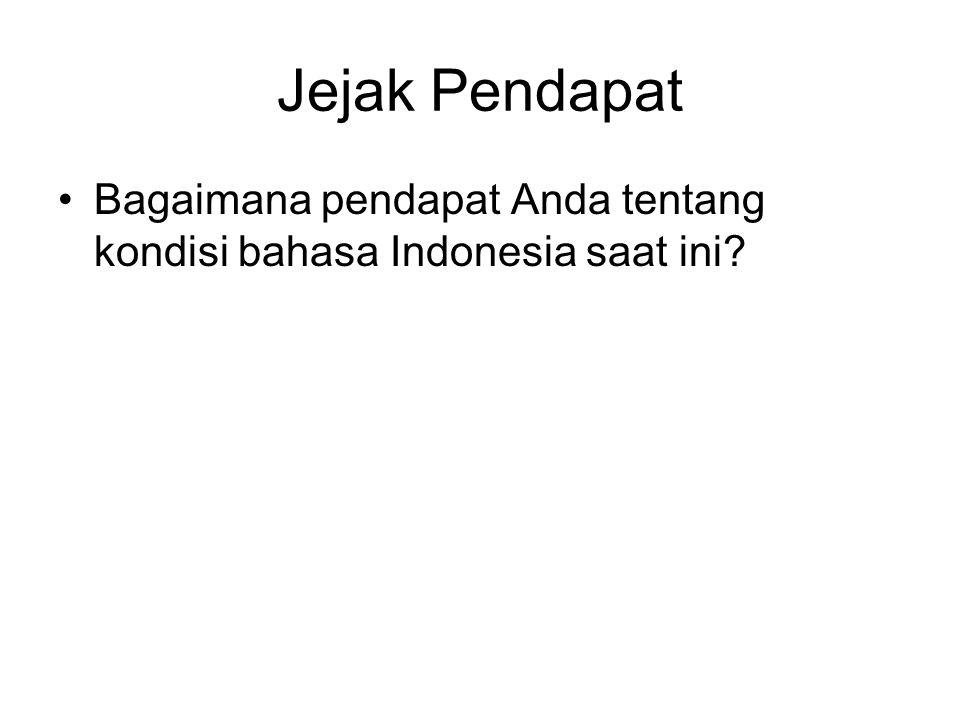 Kondisi Bahasa Indonesia Buruk, banyak yang tidak berkata-kata baik dari kecil hingga dewasa Banyak tercampur dengan bahasa daerah Buruk, bahasa yang digunakan tidak tepas seperti bahasa aslinya.