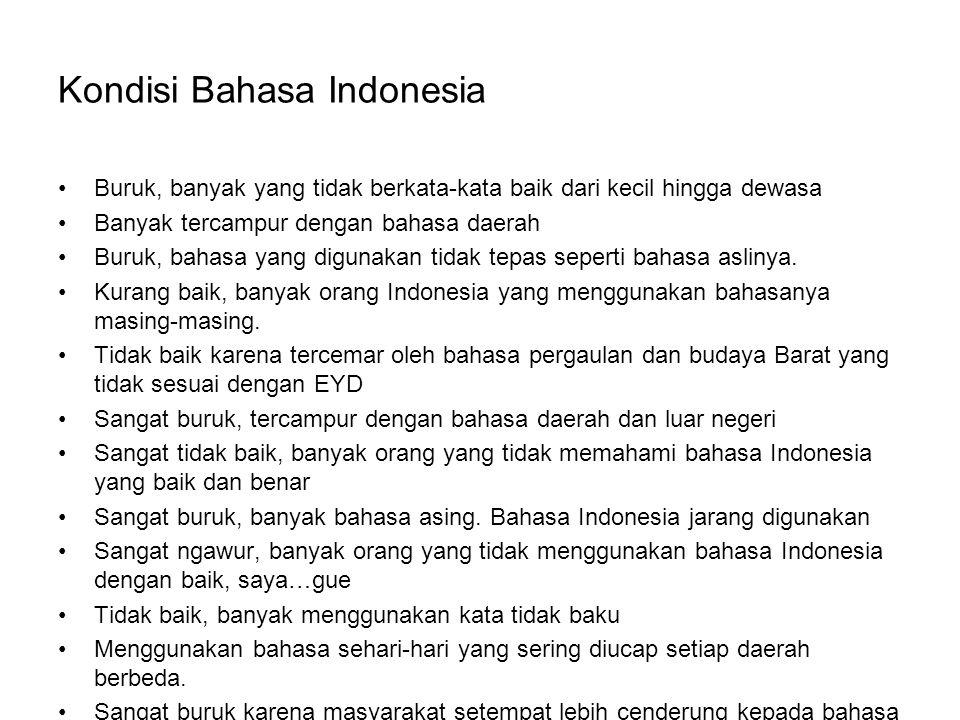 Kondisi Bahasa Indonesia Buruk, banyak yang tidak berkata-kata baik dari kecil hingga dewasa Banyak tercampur dengan bahasa daerah Buruk, bahasa yang