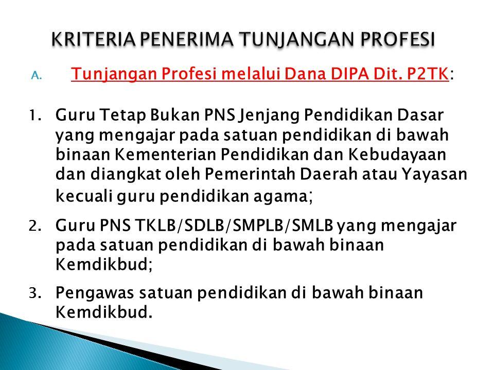 A. Tunjangan Profesi melalui Dana DIPA Dit. P2TK: 1. Guru Tetap Bukan PNS Jenjang Pendidikan Dasar yang mengajar pada satuan pendidikan di bawah binaa