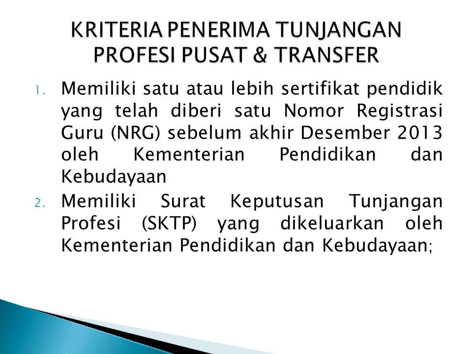 1. Memiliki satu atau lebih sertifikat pendidik yang telah diberi satu Nomor Registrasi Guru (NRG) sebelum akhir Desember 2013 oleh Kementerian Pendid