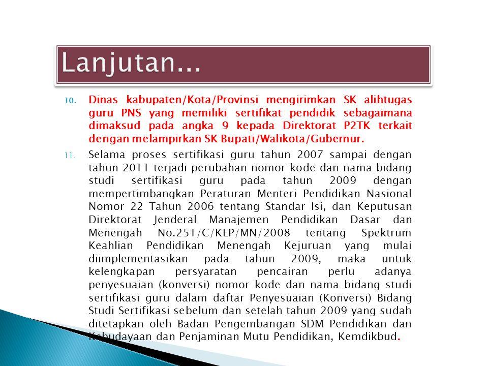 10. Dinas kabupaten/Kota/Provinsi mengirimkan SK alihtugas guru PNS yang memiliki sertifikat pendidik sebagaimana dimaksud pada angka 9 kepada Direkto