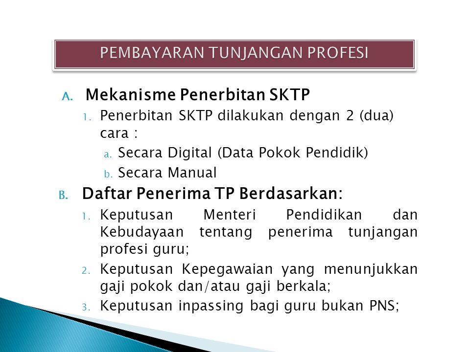 A. Mekanisme Penerbitan SKTP 1. Penerbitan SKTP dilakukan dengan 2 (dua) cara : a. Secara Digital (Data Pokok Pendidik) b. Secara Manual B. Daftar Pen