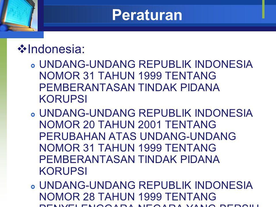 Peraturan  Indonesia:  UNDANG-UNDANG REPUBLIK INDONESIA NOMOR 31 TAHUN 1999 TENTANG PEMBERANTASAN TINDAK PIDANA KORUPSI  UNDANG-UNDANG REPUBLIK INDONESIA NOMOR 20 TAHUN 2001 TENTANG PERUBAHAN ATAS UNDANG-UNDANG NOMOR 31 TAHUN 1999 TENTANG PEMBERANTASAN TINDAK PIDANA KORUPSI  UNDANG-UNDANG REPUBLIK INDONESIA NOMOR 28 TAHUN 1999 TENTANG PENYELENGGARA NEGARA YANG BERSIH DAN BEBAS DARI KORUPSI, KOLUSI DAN NEPOTISME
