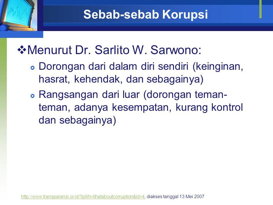 Sebab-sebab Korupsi Menurut Badan Pengawasan Keuangan dan Pembangunan (BPKP) dalam bukunya berjudul Strategi Pemberantasan Korupsi, antara lain: 1.