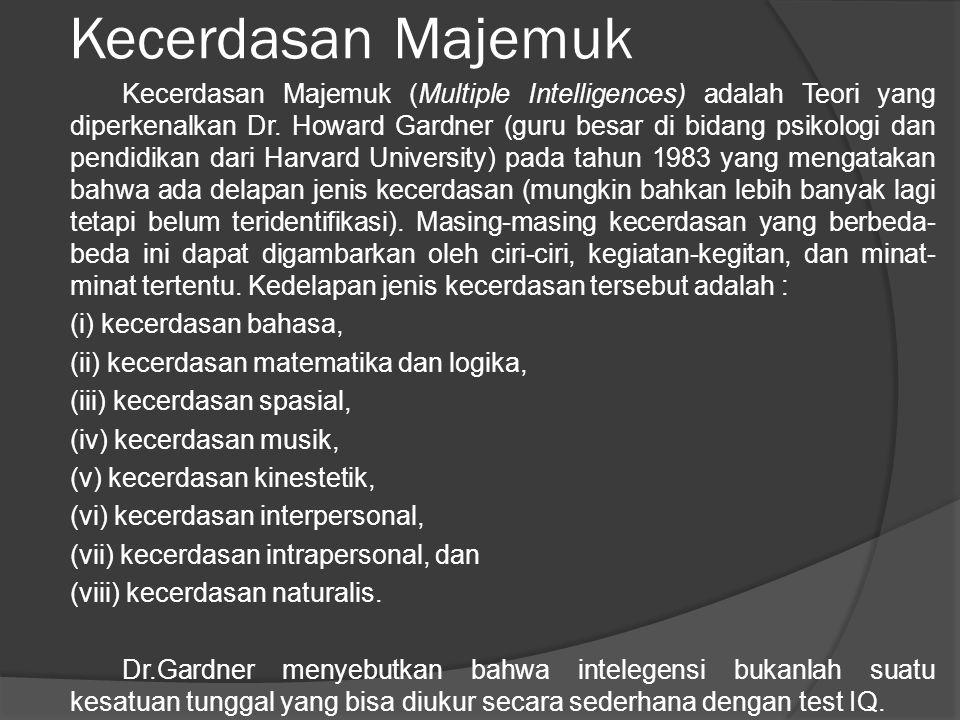 Kecerdasan Majemuk Kecerdasan Majemuk (Multiple Intelligences) adalah Teori yang diperkenalkan Dr. Howard Gardner (guru besar di bidang psikologi dan