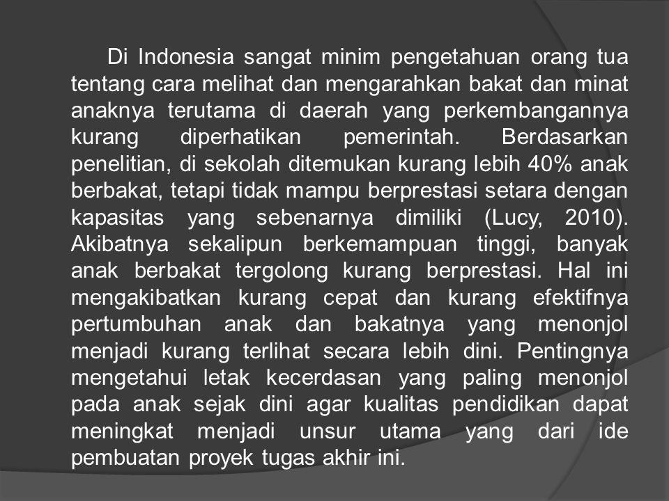 Di Indonesia sangat minim pengetahuan orang tua tentang cara melihat dan mengarahkan bakat dan minat anaknya terutama di daerah yang perkembangannya k