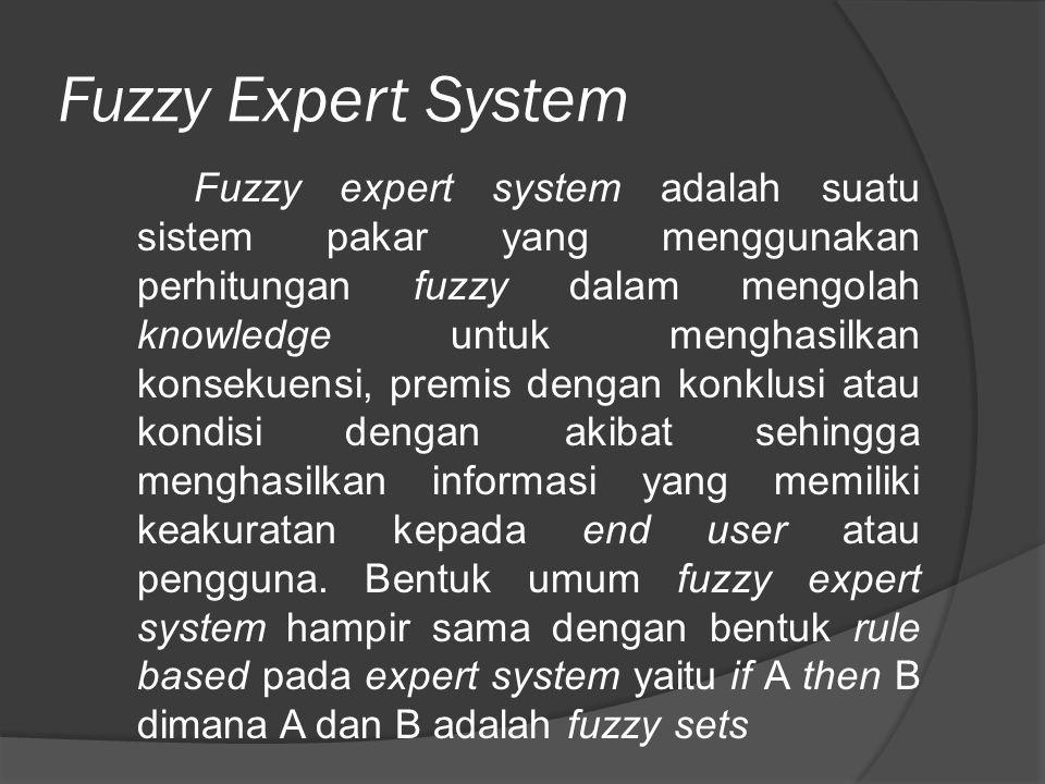 Fuzzy Expert System Fuzzy expert system adalah suatu sistem pakar yang menggunakan perhitungan fuzzy dalam mengolah knowledge untuk menghasilkan konse