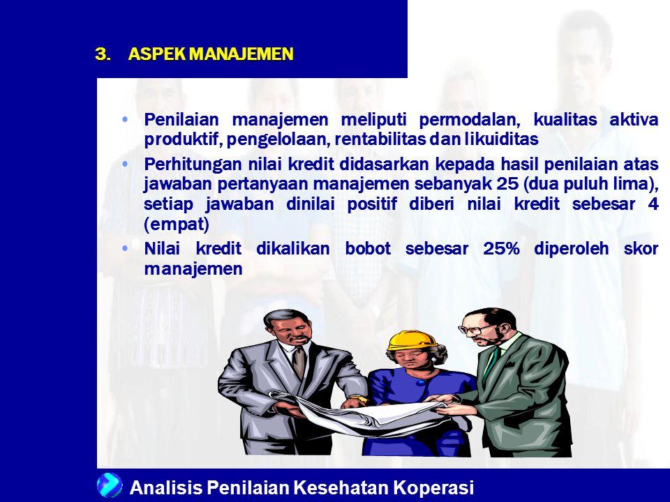 Analisis Penilaian Kesehatan Koperasi Penilaian manajemen meliputi permodalan, kualitas aktiva produktif, pengelolaan, rentabilitas dan likuiditas Per