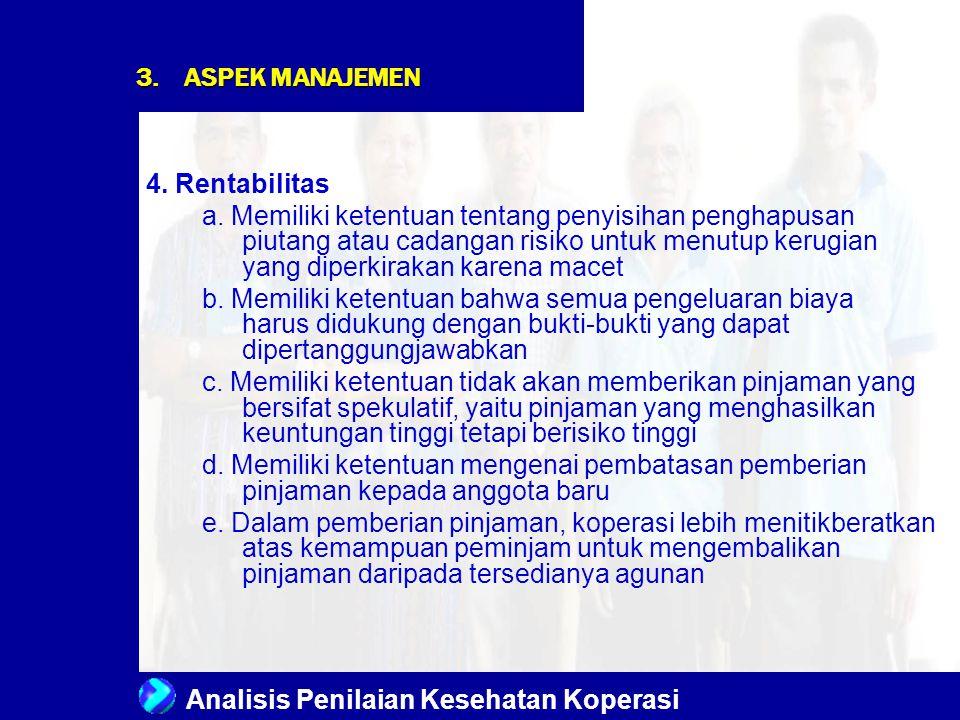 Analisis Penilaian Kesehatan Koperasi 3.ASPEK MANAJEMEN 4. Rentabilitas a. Memiliki ketentuan tentang penyisihan penghapusan piutang atau cadangan ris