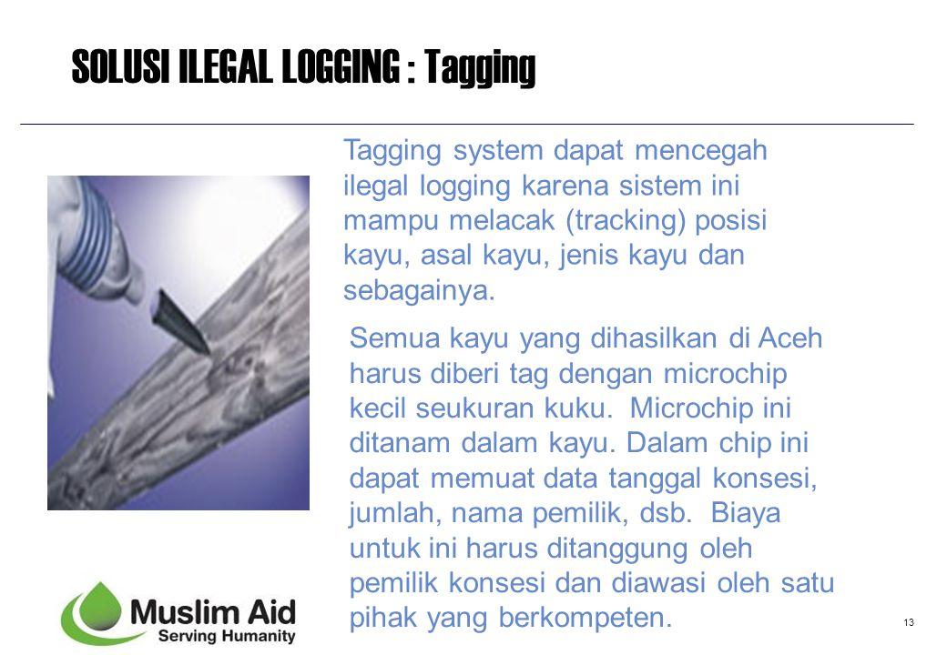13 SOLUSI ILEGAL LOGGING : Tagging Semua kayu yang dihasilkan di Aceh harus diberi tag dengan microchip kecil seukuran kuku. Microchip ini ditanam dal