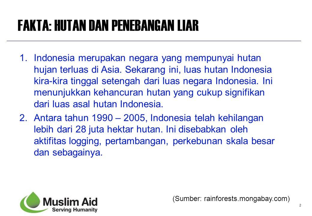 2 FAKTA: HUTAN DAN PENEBANGAN LIAR 1.Indonesia merupakan negara yang mempunyai hutan hujan terluas di Asia. Sekarang ini, luas hutan Indonesia kira-ki